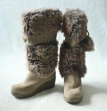 Report Boots Tan Leather Suede Winter Women's Faux Fur Effie Size 7.5