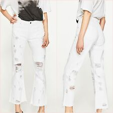 SALE White Ribbed Frayed Mini Flare Jeans Size UK 6 8 10 12 US 2 4 6 8 Blogger ❤