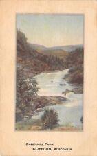 Clifford Wisconsin~Greetings~Somo River Bend~Rocks~1914 Postcard