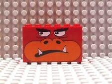 LEGO MONSTER FACE BRICK ~ Large 2 x 6 x 3 Red Brick with Printed Face Pattern