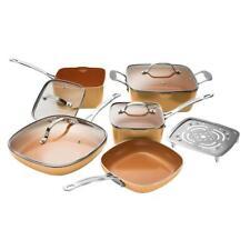 Gotham Steel Cookware Set 10-Piece Aluminum Nonstick Square Glass Lids (Copper)