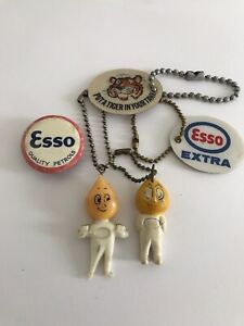 Vintage Collection Of Esso Keyrings/ Badges/ Automobilia Collectables