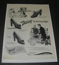 Print Ad 1943 FOOTWEAR Women's Vitality Shoes ART Victory Tempo WW ll Fashion