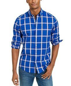 Tommy Hilfiger Men's Ballard Plaid Blue Custom Fit Button Front Pocket Shirt