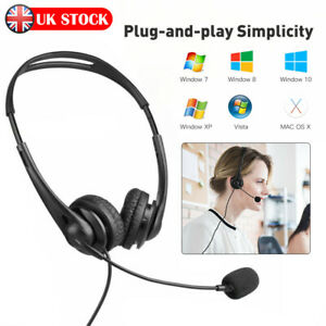 USB Headset Headphones Wired with Microphone MIC for Call PC Computer Laptop UK