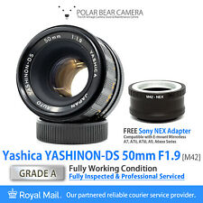 ⭐SERVICED⭐ YASHICA 50mm F1.9 *SPECIAL SERIAL* + Sony NEX Adapter + Cap [GRADE A]