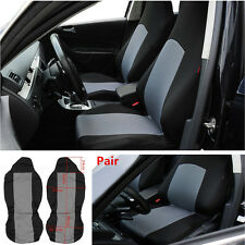 Universal Pair Car Front Seat Covers Protector w/ Built-in Seat Belt Grey+Black