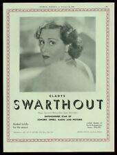 1936 Gladys Swarthout photo opera recital trade booking ad