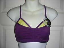 HALF MOON ACTIVE BRA NWT-Y42BM295-Imperial Purple-M- Active Bralette/Purple Yel