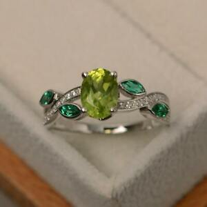14k White Gold Plated Oval Peridot and Green Emerald Leaf Ring, Engagement Ring