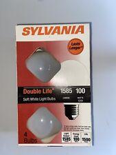 Sylvania 100 Watt Incandescent Light Bulbs A19 4 pks soft white double life