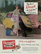 1958 Rheingold Beer Madelyn Darrow Miss BMW Isetta Yellow Car Vintage Print Ad