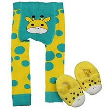 Waddle Giraffe Baby Footless Tights and Fuzzy Slippers Infant 0-12 mths
