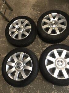 VW BIOLINE 16 INCH ALLOY WHEELS AND TYRES GOLF MK5 MK6 JETTA TOURAN 205 55 R16