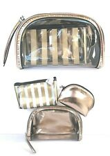 VICTORIAS SECRET 3 in 1 BEAUTY BAG SET CLEAR COSMETIC TRIO MAKEUP TRAIN CASE New