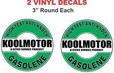 2 Round Cities Service Koolmotor Gasolene Vinyl Decals