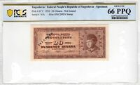 Yugoslavia 1950 20 Dinara Specimen PCGS Banknote Certified Gem UNC 66 PPQ  67T