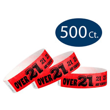"WristCo Over 21 Neon Red 3/4"" Tyvek Wristbands - 500 Pack Paperands for Events"