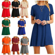 Women's Casual Solid Color Short Sleeve Tunic Top Shirt Blouse Dress AU