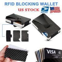 US Carbon Fiber ID Credit Card Holder RFID Blocking Wallet Money Clip Purses
