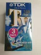More details for tdk tv240 vhs video tape 3 pack life on record new sealed