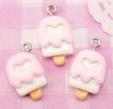 6x Pink Heart Ice Lolly Torta Resina Perline CON GANCI PENDENTI Artigianato Deco