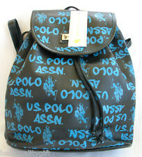 NEW US POLO ASSN BLACK+TURQUOISE AUTO GRAPH LOGO BACKPACK BAG