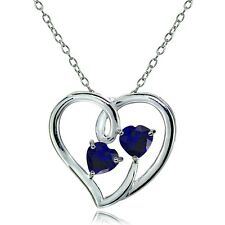 Sterling Silver Created Blue Sapphire Double Open Heart Necklace