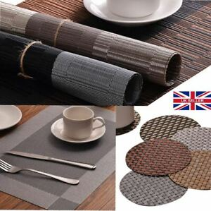 Set of 2/4/6/8 Table Placemats PVC Non-Slip Foldable Washable Dining Table Mats