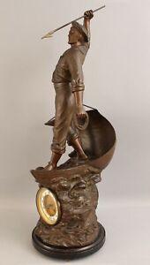 Large Antique Maritime 1900 Fisherman & Harpoon Spelter Sculpture Junghans Clock