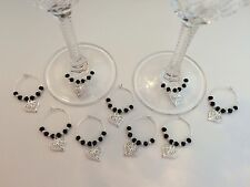 50 Black Crystal Wine Glass Charms.Wedding, Favours, Party