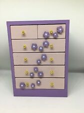 1:12th dolls house modern Children's Girls Nursery hand painted chest of drawers