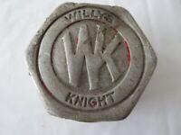 Vintage Willys Knight Car Grease Cap Badge Emblem Logo Metal - Original