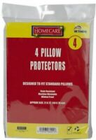 4 x PILLOW PROTECTORS PILLOW COVERS WHITE MILDEW FUNGAL PROOF STAIN RESISTANT