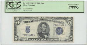 1934C $5 Silver Certificate PCGS Superb Gem New 67 PPQ Fr #1653