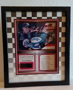 RUSTY WALLACE 2002 COLLECTIBLE FRAMED PICTURE AND MOUNTED TIRE PIECE NASCAR xx