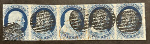 TDStamps: US Stamps Scott#9 1c Franklin Used Lightly Crease Strip of 5