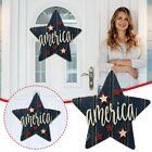 America Star Front Door Hanger Wooden Independence Day Door Sign Patriotic Wreat