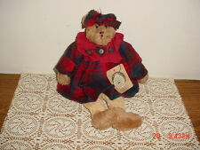 "Boyds Bears 13"" ""Clara"" Brown Bear/Red Plaid Dress & Bow/Blue Tag/Original Tag"