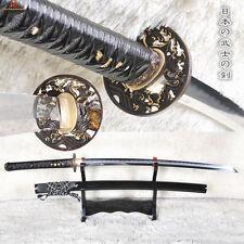Folded Steel Clay Tempered Abrasive Full Tang Samurai Sword Katana Sharp Blade
