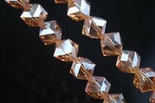10pcs 10mm Diagonal Cube Square Faceted Crystal Glass Loose Beads Gold Champagne