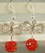 1pair butterfly 925 earrings silver pendant earrings Shambhala charm bead d8