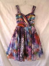 """Beautiful Colourful  """"ANTHEA CRAWFORD""""  Silk Cocktail Dress Size 10"""