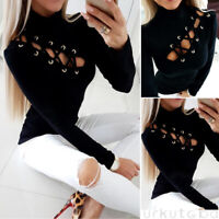 Women's Lace-Up Eyelet Hollow Out T-Shirt Ladies Long Sleeve Slim Fit  Blouse