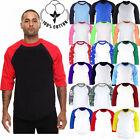 Baseball 3/4 Sleeve Raglan Cotton Casual TShirts Tee Jersey Top Women t shirt
