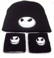 Jack Skellington Head on Black Beanie Ski Hat Cap Beanie Style + Sweatbands-New!