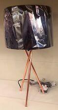 Modern Urban Industrial Copper Metal Tripod Black Drum Shade Desk Table Lamp NEW