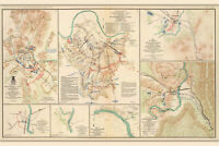 Nashville & Franklin TN Civil War Battlefields; Antique Map, 1865