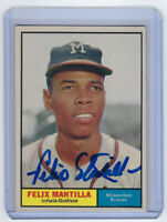 1961 BRAVES Felix Mantilla signed card Topps #164 AUTO Autographed Milwaukee