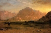 Oil painting frederic edwin church - the arabian desert. landscape & horseman @@